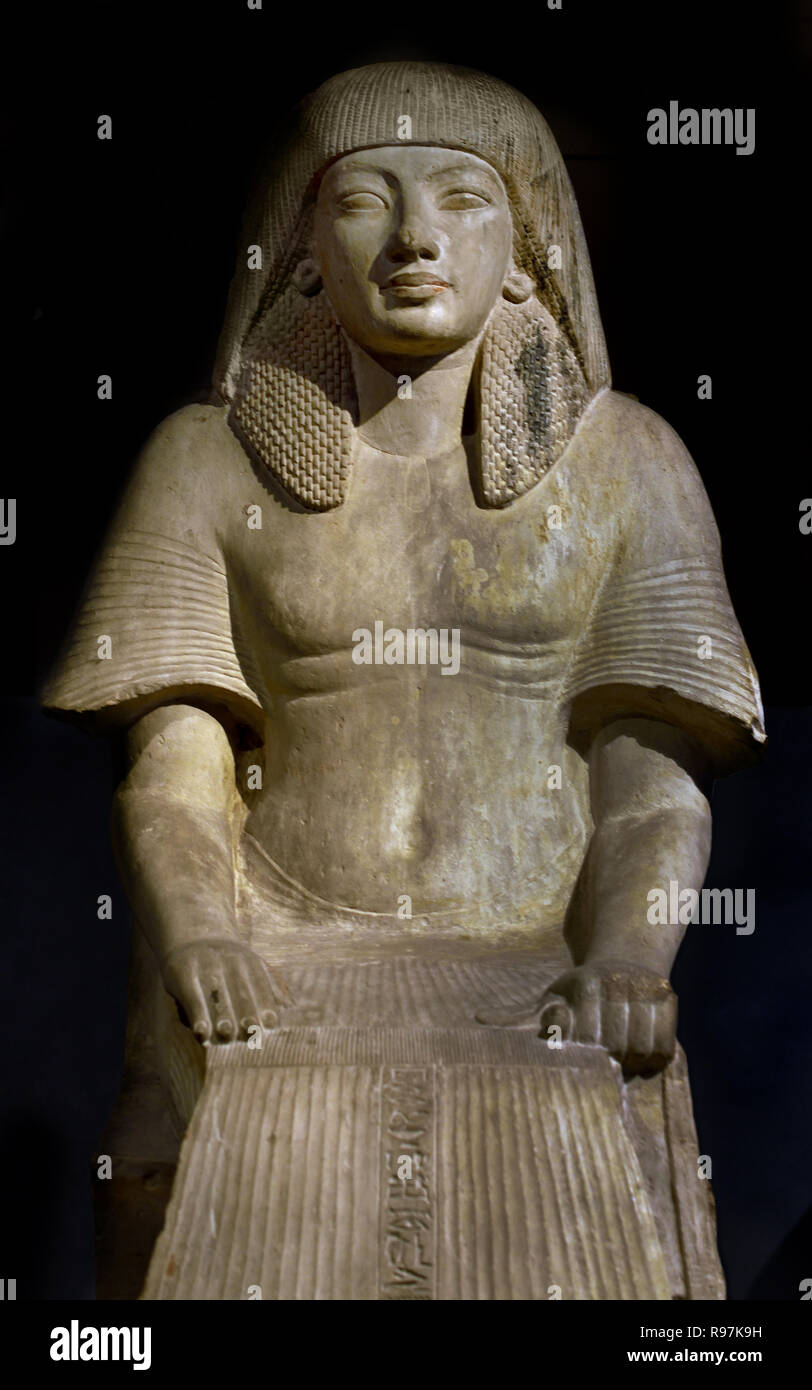 Seat of Maya, Period: New Empire; 18th Dynasty; Horemheb 1319-1307 BC Egypt, Egyptian.( Maya important figure during the reign of Pharaohs Tutankhamun, Ay and Horemheb. Maya's titles include: fan bearer on the King's right hand, overseer of the treasury, chief of the works in the necropolis, and leader of the festival of Amun in Karnak. ) - Stock Image