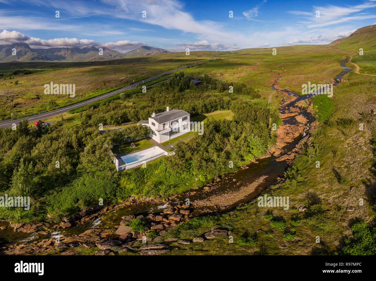 Halldor Laxness museum, Mosfellsbaer, Iceland. This image is shot using a drone. - Stock Image