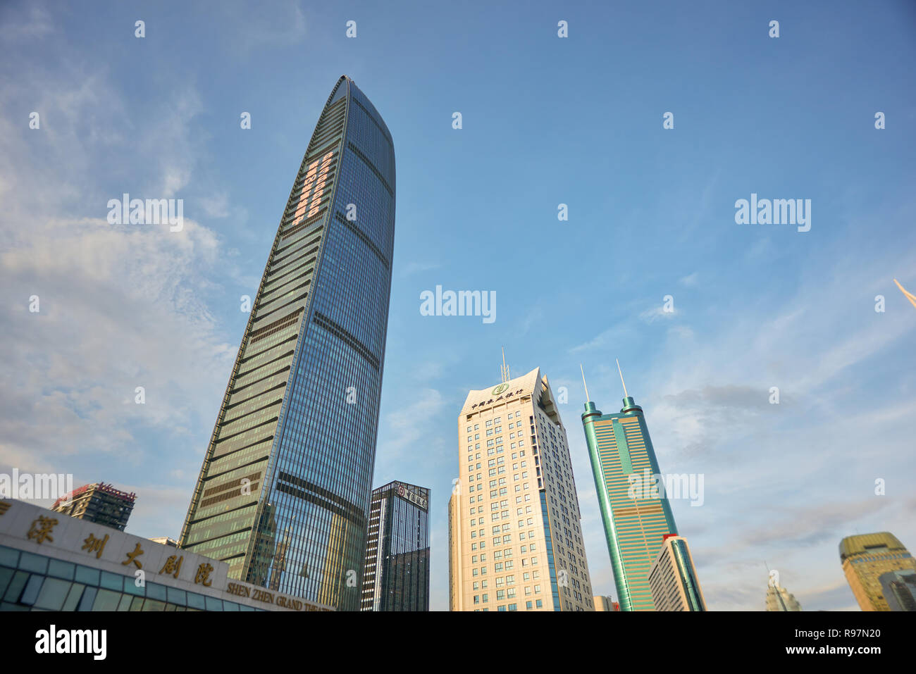 SHENZHEN, CHINA - MAY 28, 2014: Kingkey 100 at daytime. The KK100, formerly known as Kingkey 100 and Kingkey Finance Tower is a supertall skyscraper i - Stock Image
