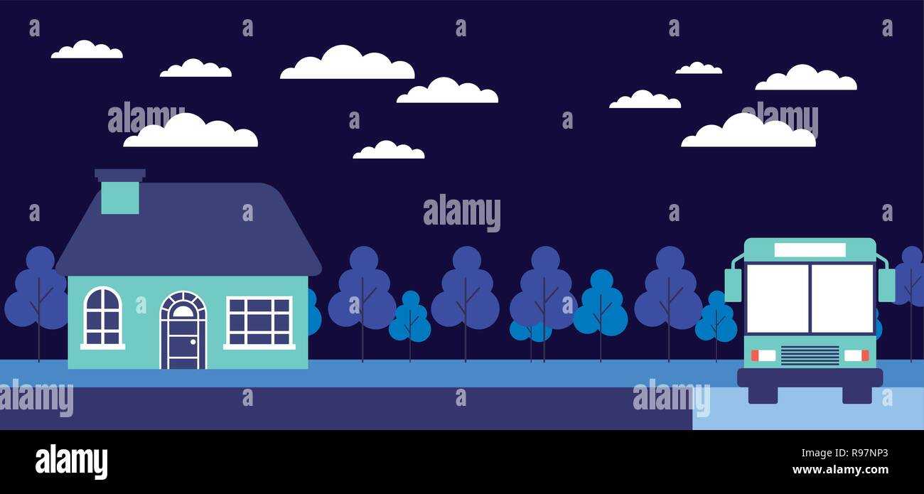 night trees house stop bus vector illustration - Stock Vector