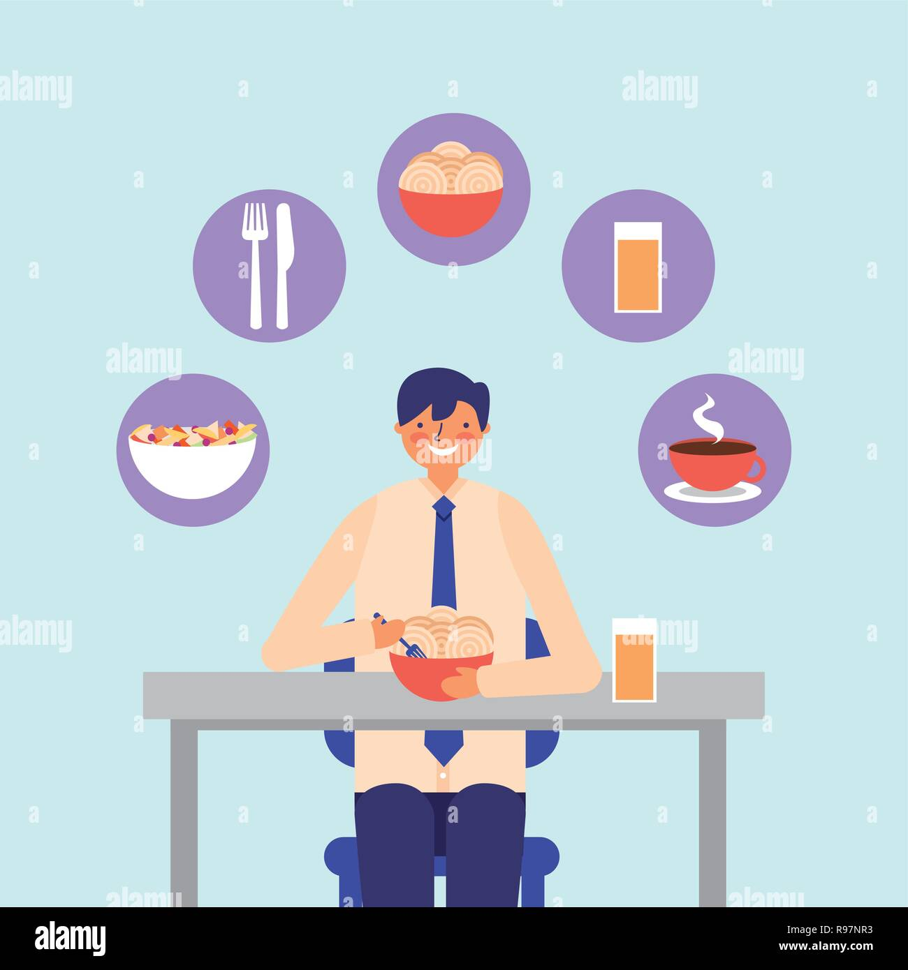 daily activity businessman eating lunch vector illustration - Stock Vector