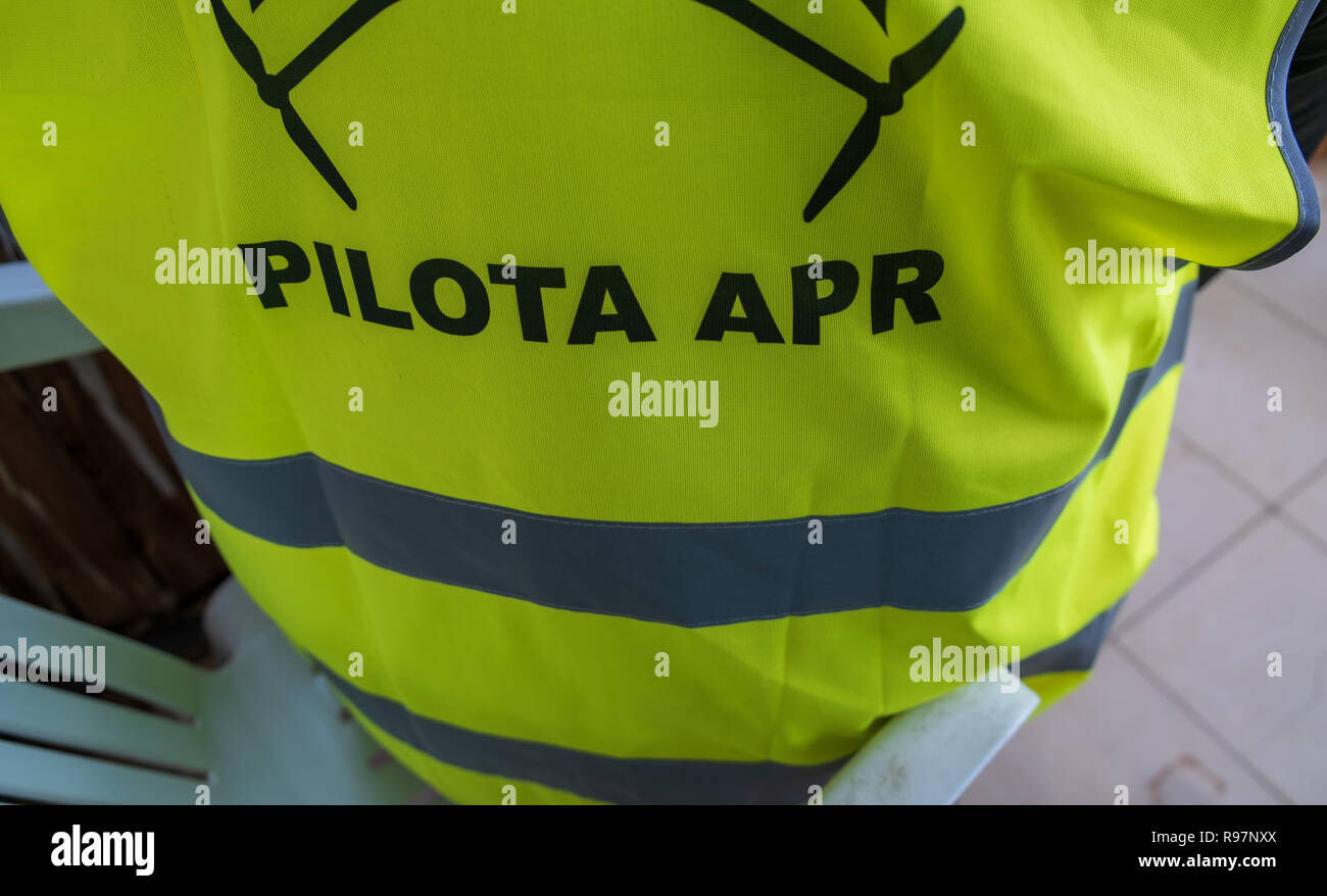 Drone pilot while wearing a jacket that identifies a pilot in the exercise phase. Stock Photo