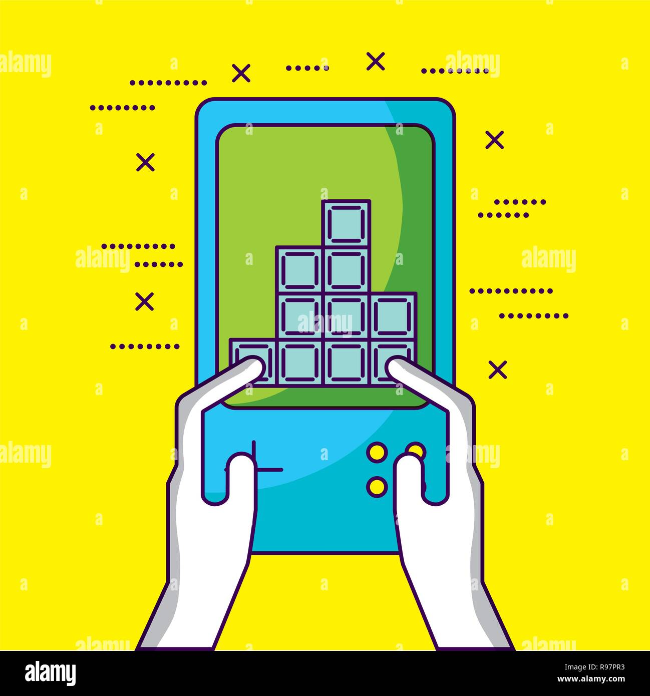 Video Game Person Playing Tetris Vector Illustration Stock