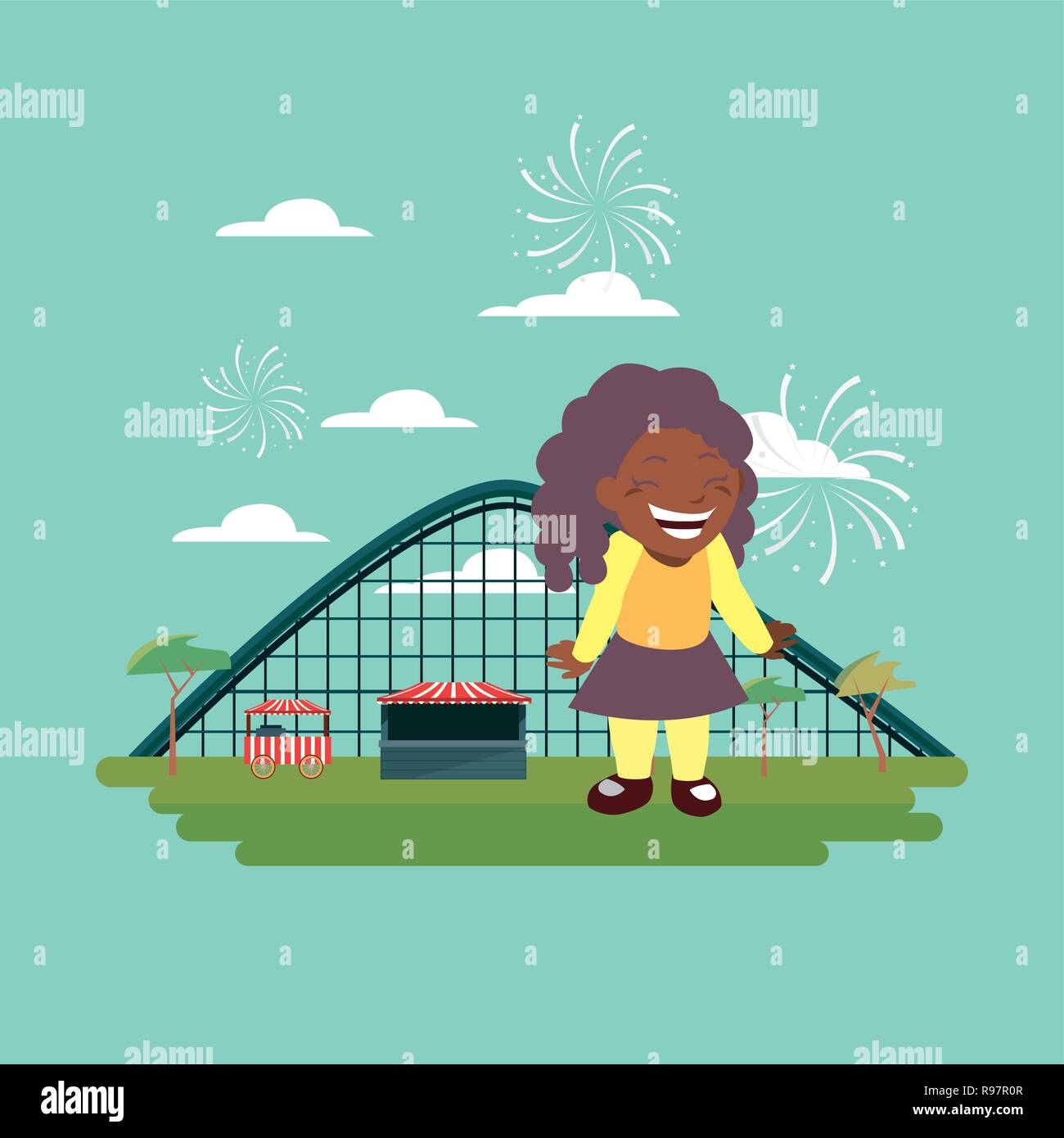 happy girl carnival roller coaster vector illustration - Stock Vector