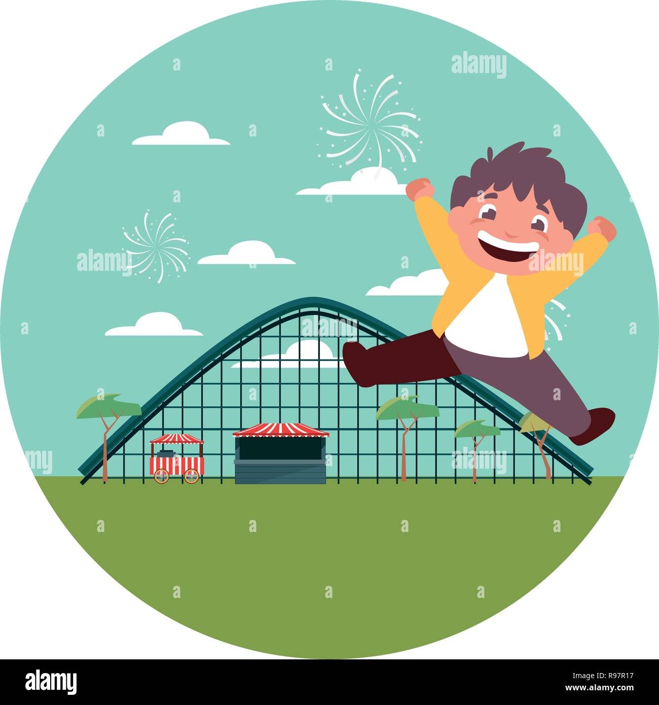 happy boy carnival roller coaster vector illustration - Stock Vector