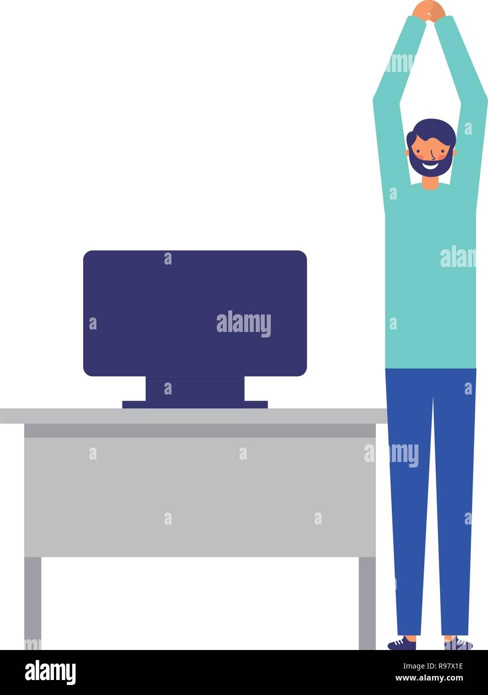 man active breaks in the office vector illustration - Stock Vector