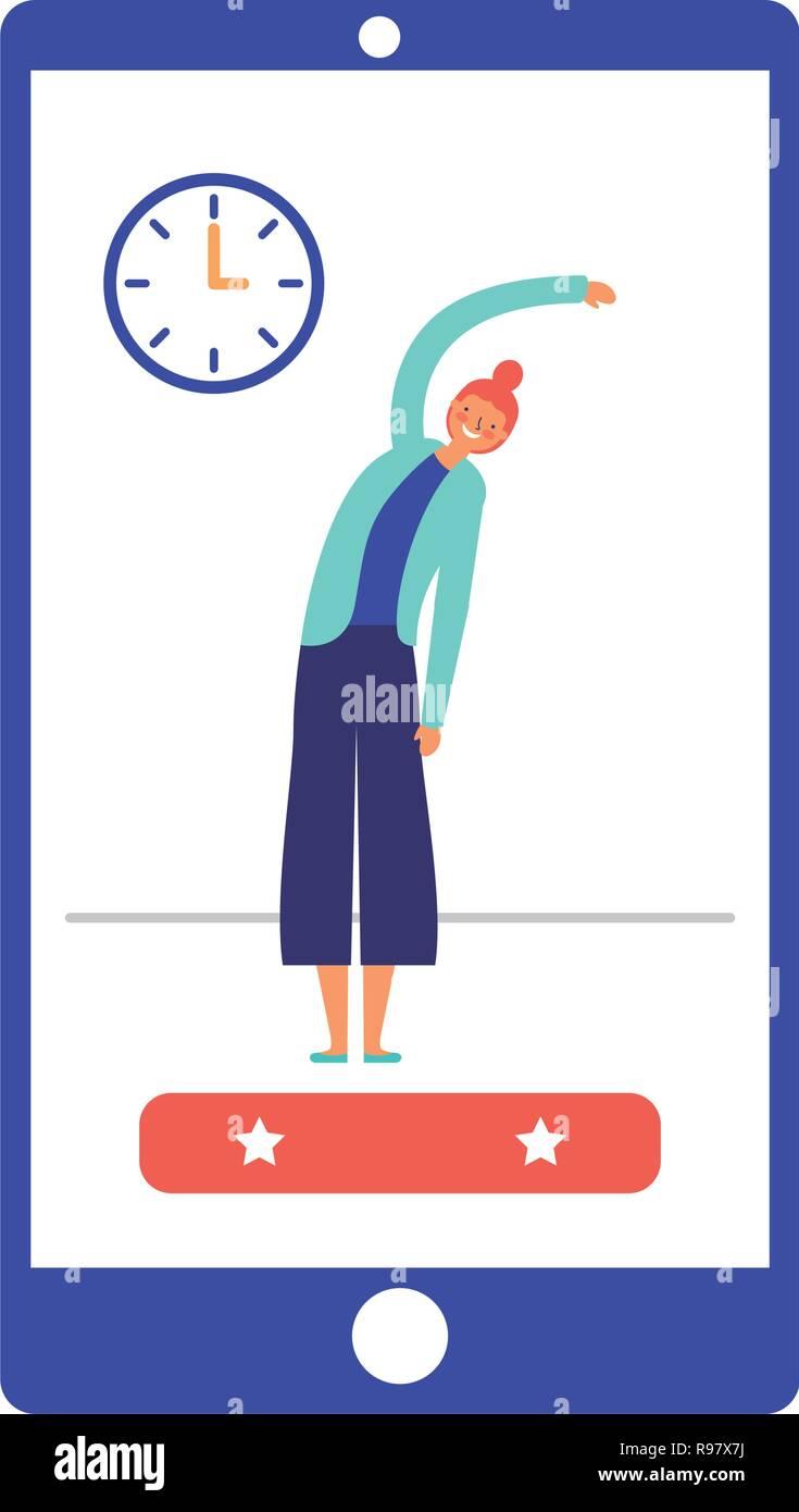 people active breaks mobile app vector illustration - Stock Vector
