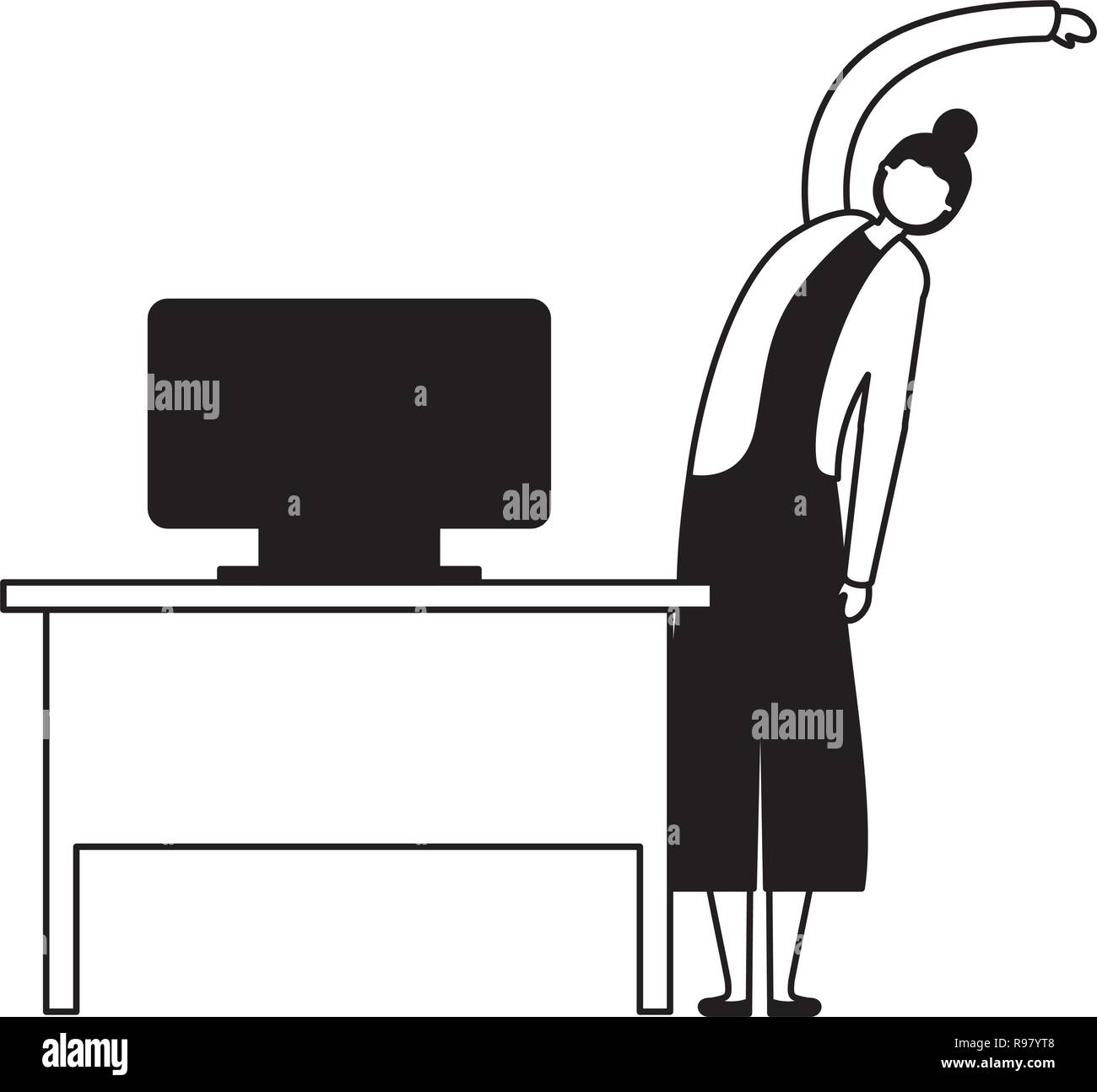 woman active breaks in the office vector illustration - Stock Vector