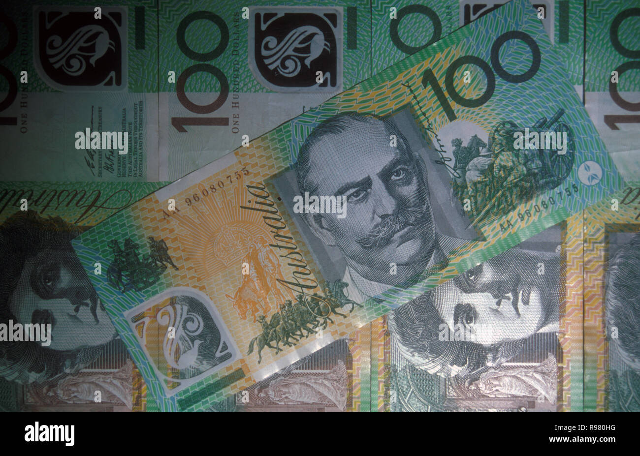 AUSTRALIAN ONE HUNDRED DOLLAR NOTES FEATURING SIR JOHN MONASH AND DAME NELLIE MELBA - Stock Image