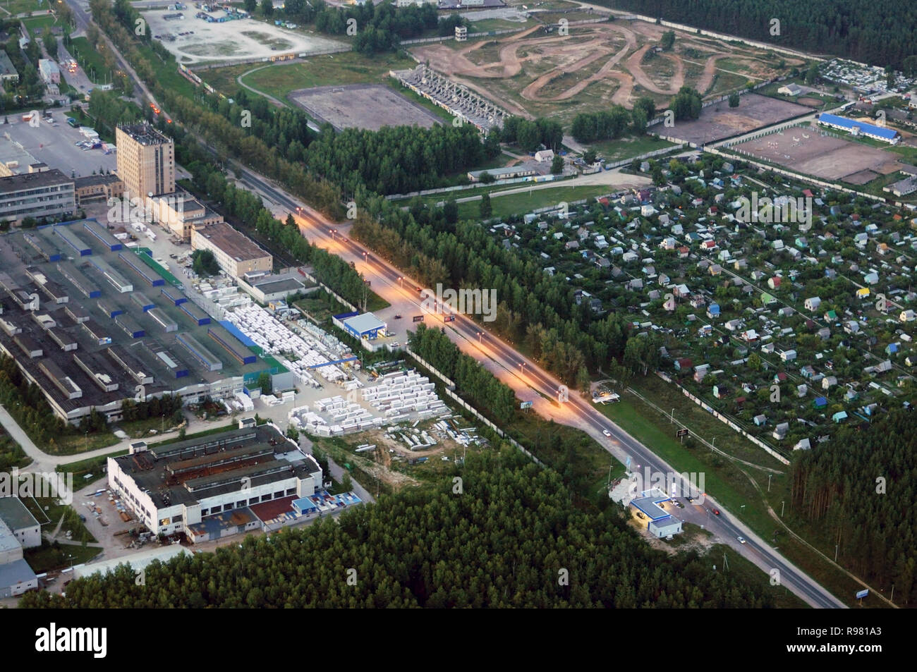 Kovrov, Russia. 11 August 2013. Kovrov town from the air in the evening. Sports complex Motodrom, children's and youth equestrian sports school, colle - Stock Image