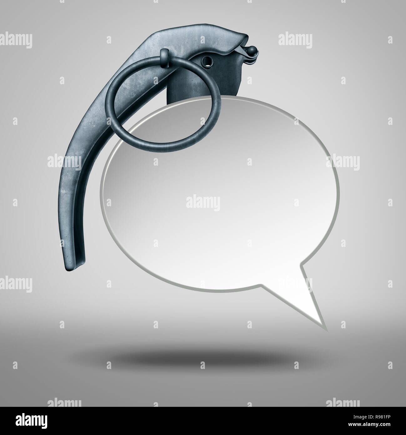 Speech bomb and hate talk or abusive language social issue symbol representing cyberbullying as a 3D illustration. Stock Photo