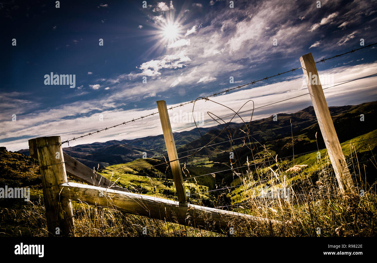 Wire Fence Countryside New Zealand - Stock Image