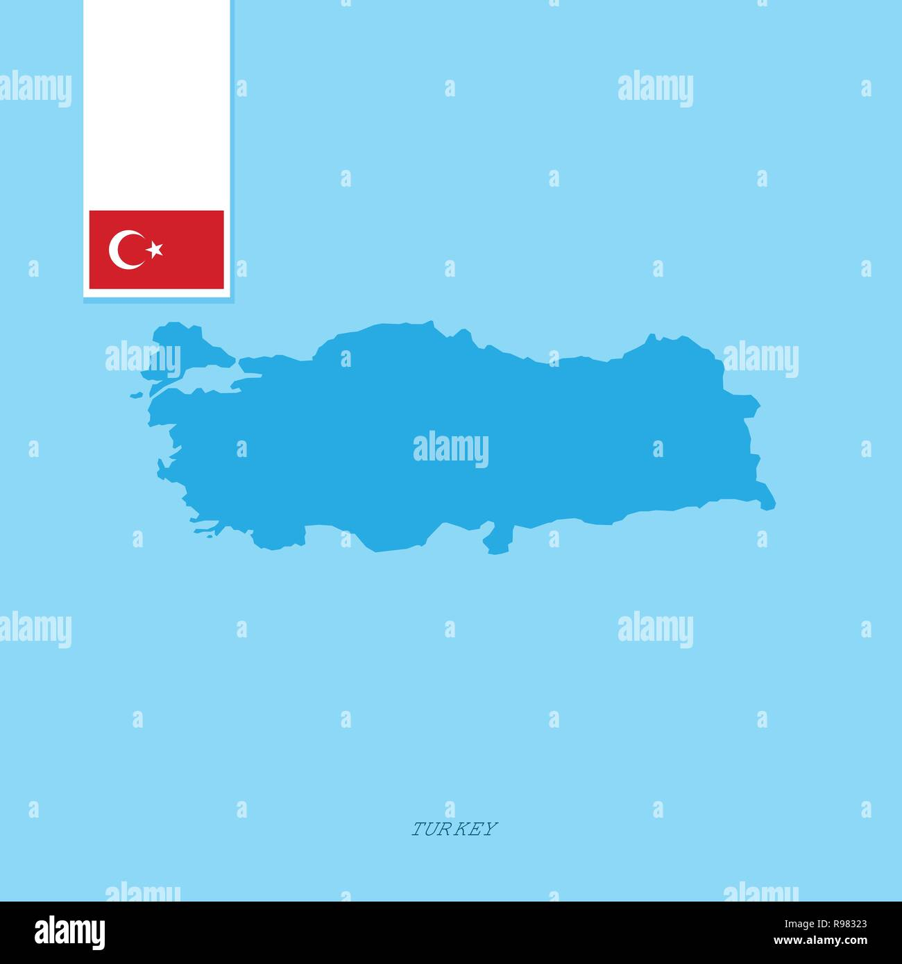Turkey Country Map with Flag over Blue background Stock Vector Art on