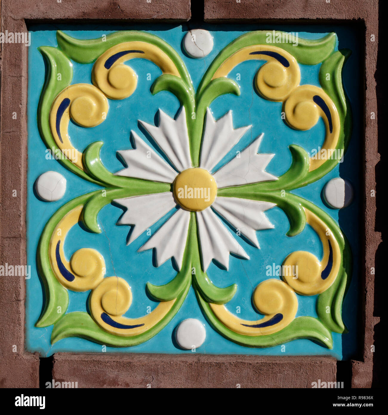 . Decorative ceramic wall tile outside the Church of the Savior on