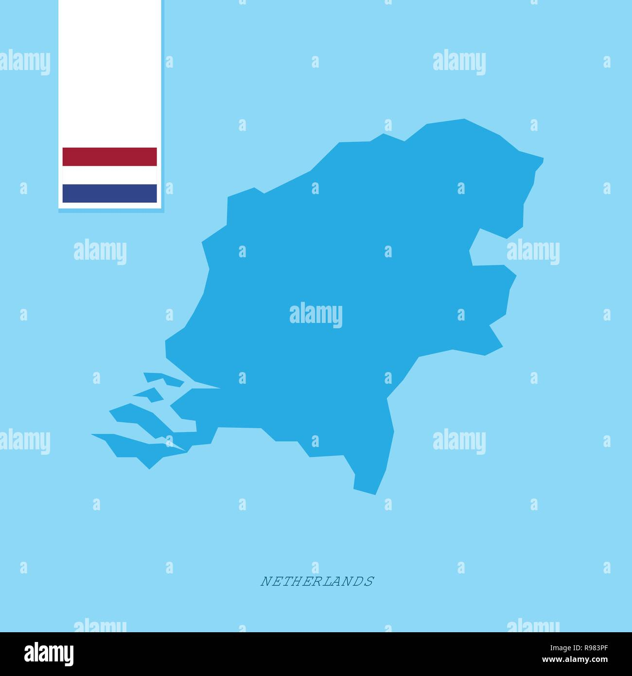 Netherlands Country Map with Flag over Blue background - Stock Vector