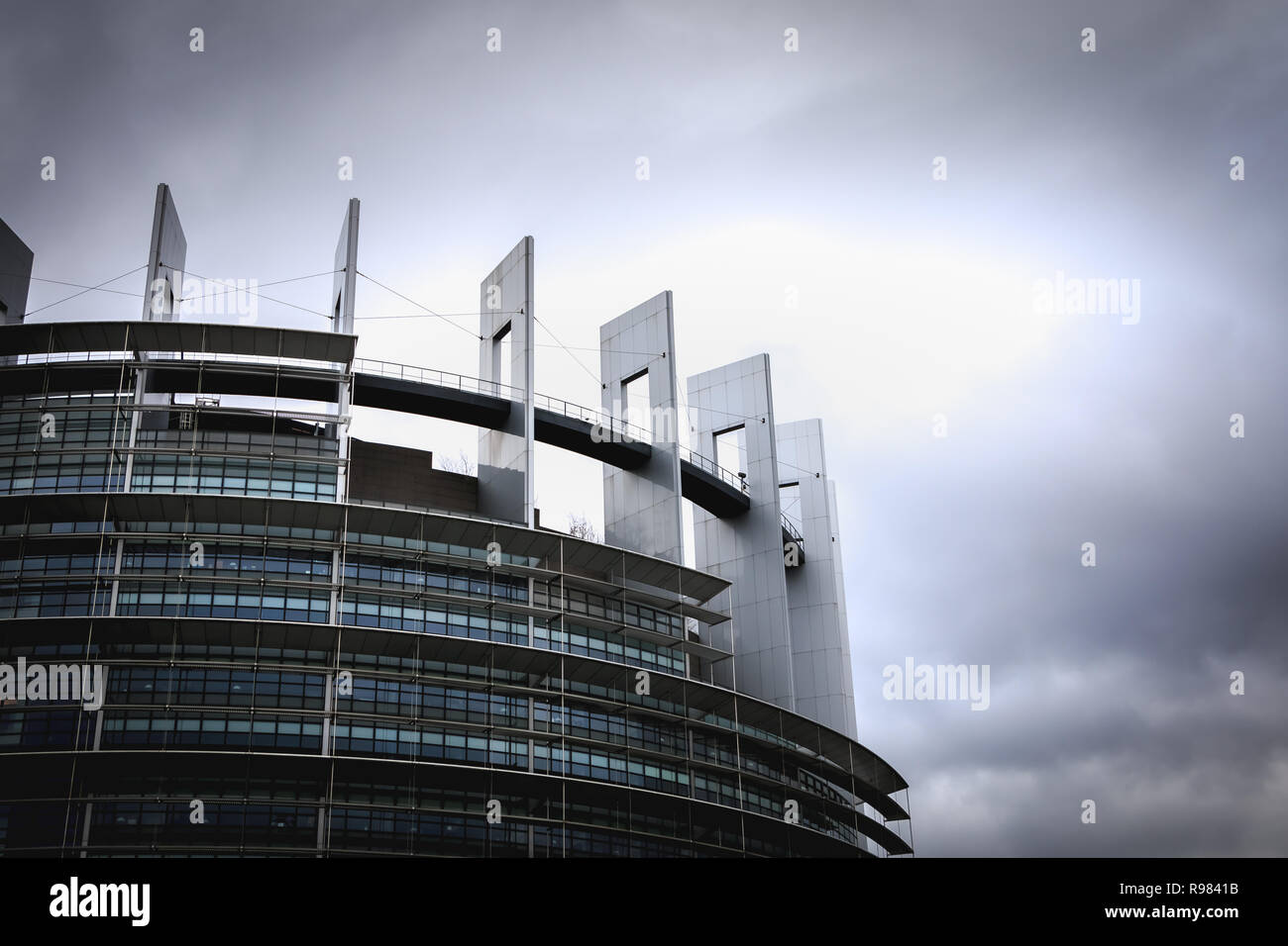 Strasbourg, France - December 28, 2017 - Architectural detail of the European Parliament on a winter day at dusk - Stock Image