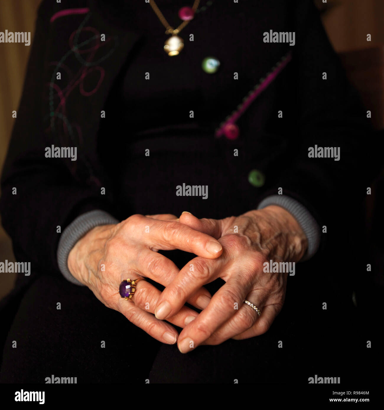 Close-up of hands of a woman - Stock Image