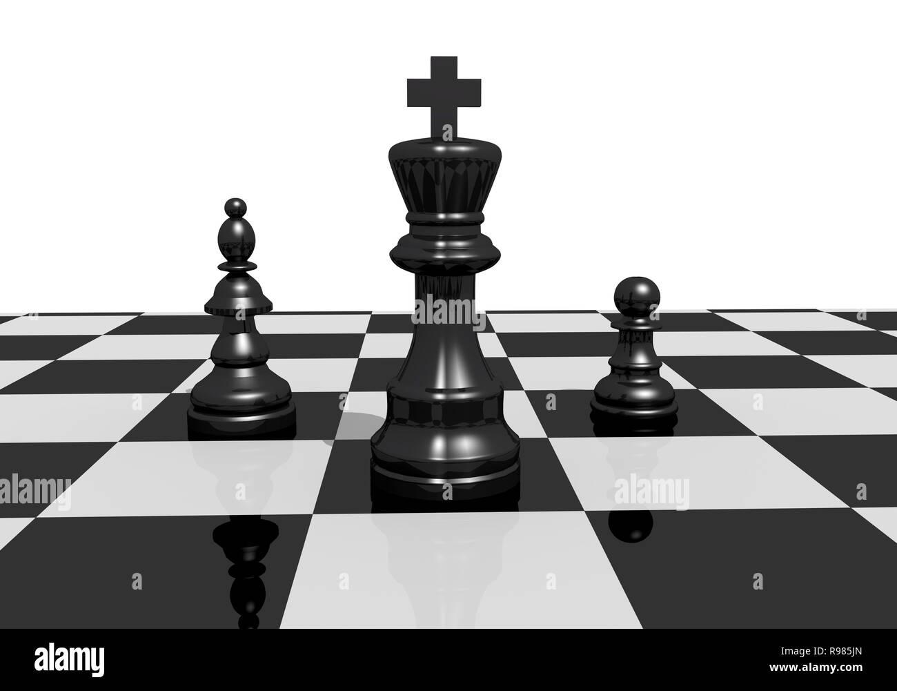 chess pawn chessmen boardgame figures 3d illustration - Stock Image