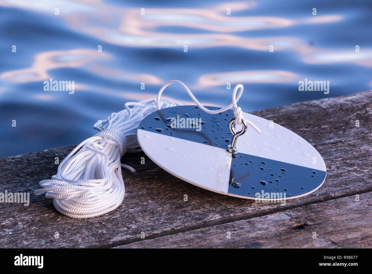 Secchi disk with rope on a wooden dock, prepared for water transparency measurement. - Stock Image