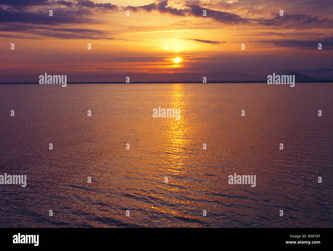 Sunset. La Manga del Mar Menor, Murcia, Spain. - Stock Image
