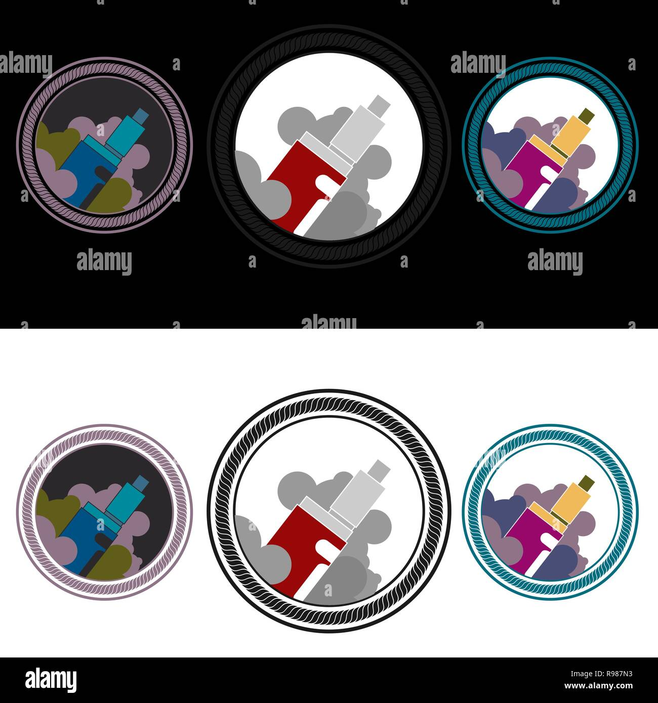 Vape in the fog ,logotypes vector set  with in round in three color, for web and print for shope and cafe. - Stock Image