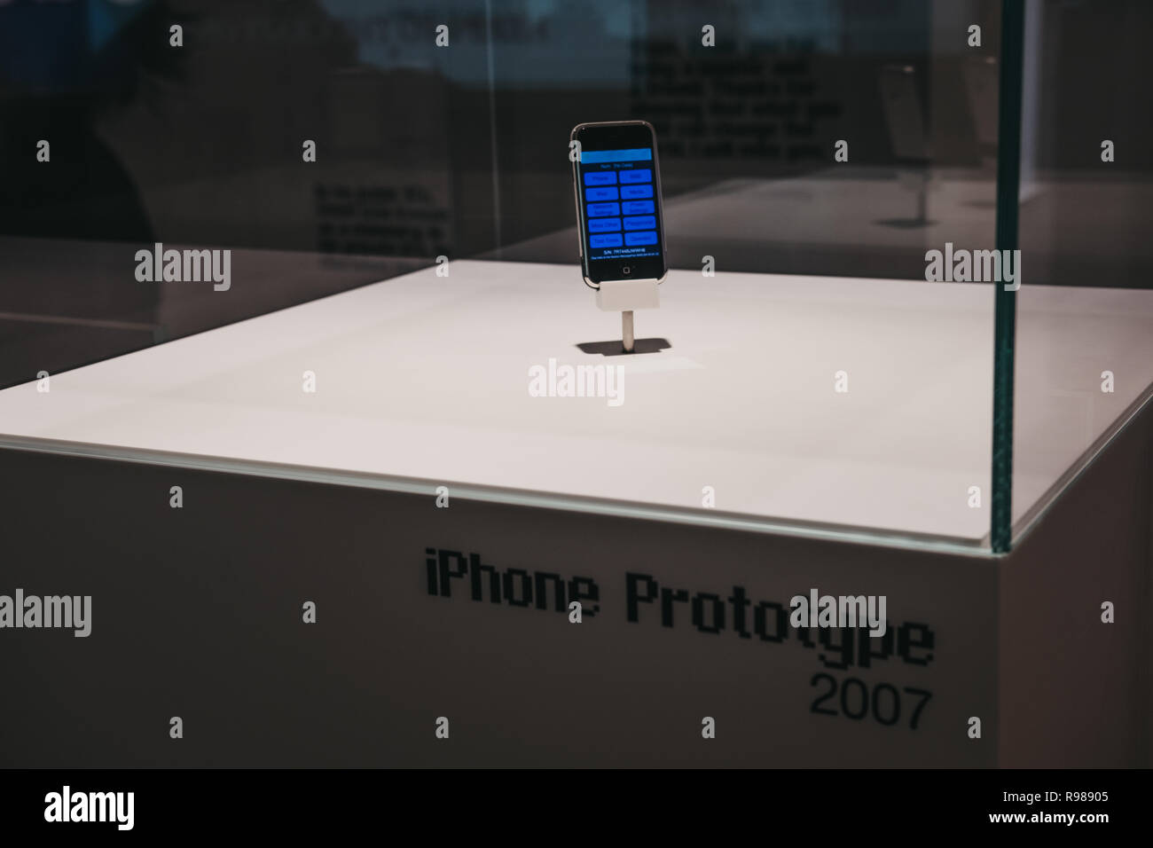 Prague, Czech Republic - August 28, 2018: iPhone prototype on exhibit inside Apple Museum in Prague, the largest private collection of Apple products  - Stock Image