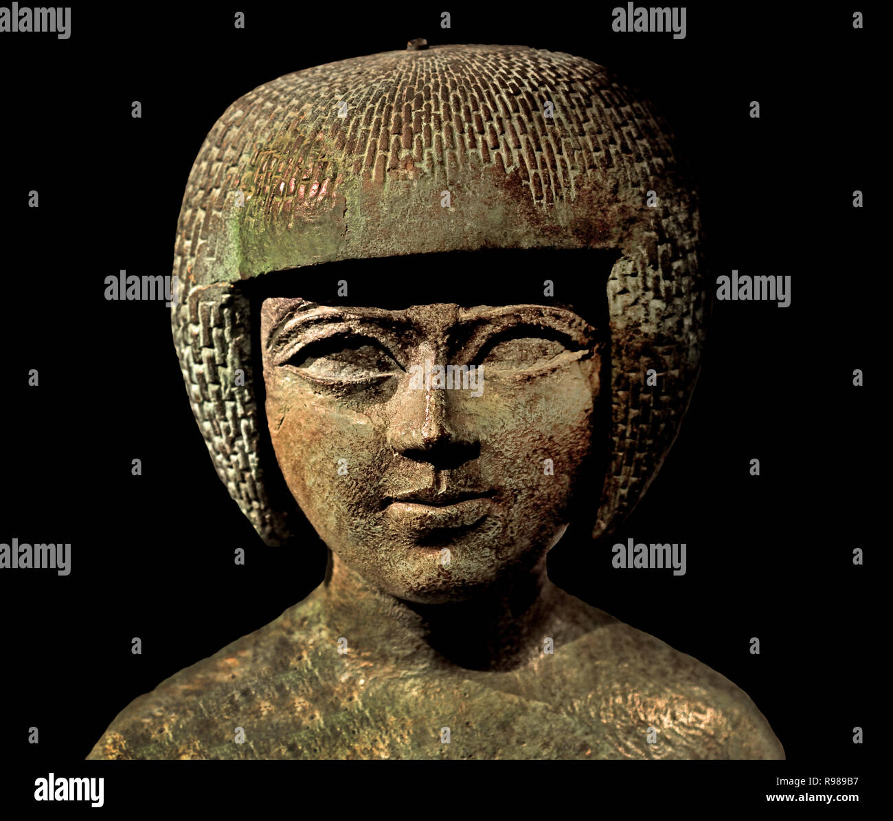 Portrait of priestess bronze. Period: Third Intermediate Period; 22nd Dynasty 945-712 BC (Temple Musician) Egypt, Egyptian. - Stock Image