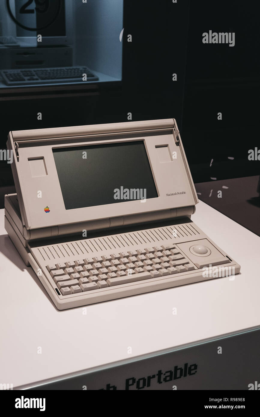 Prague, Czech Republic - August 28, 2018: Macintosh portable computer on display inside Apple Museum in Prague, the largest private collection of Appl - Stock Image