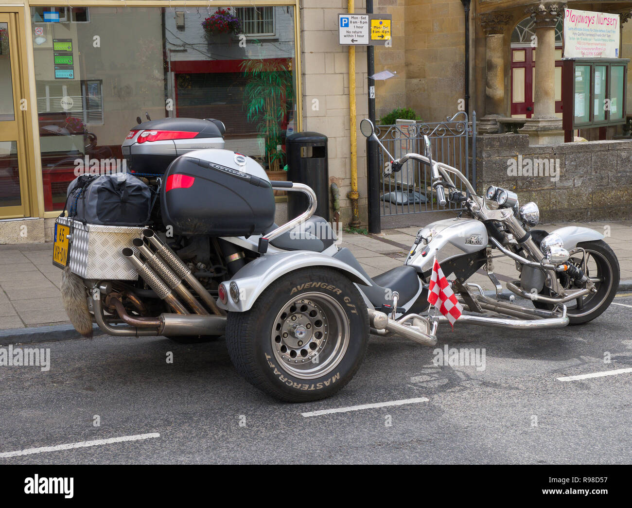 A Boom Low Rider Trike from Holland parked on the high-street in Glastonbury, Somerset, UK - Stock Image