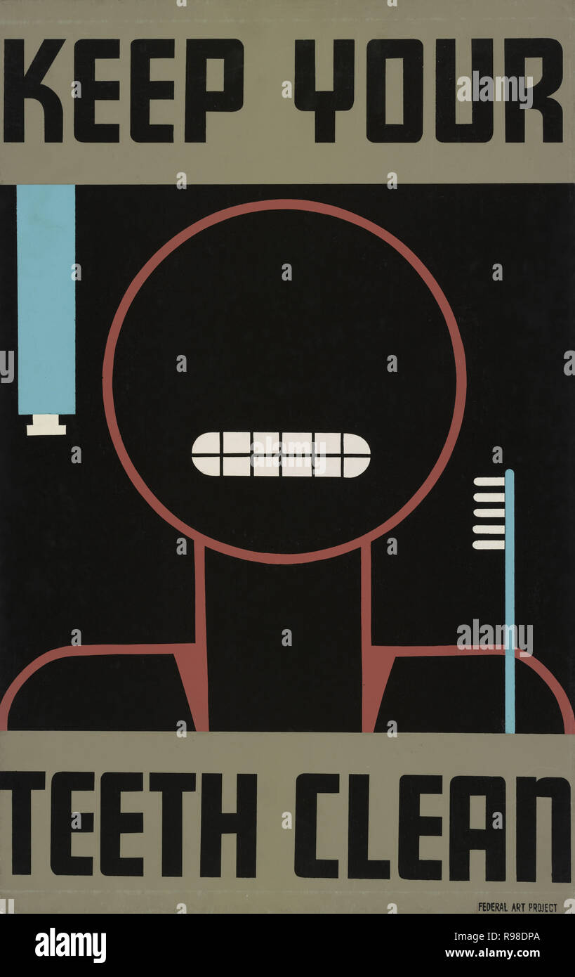 Poster Promoting Good Oral Hygiene, 'Keep Your Teeth Clean', Federal Art Project, Works Progress Administration, 1938 - Stock Image