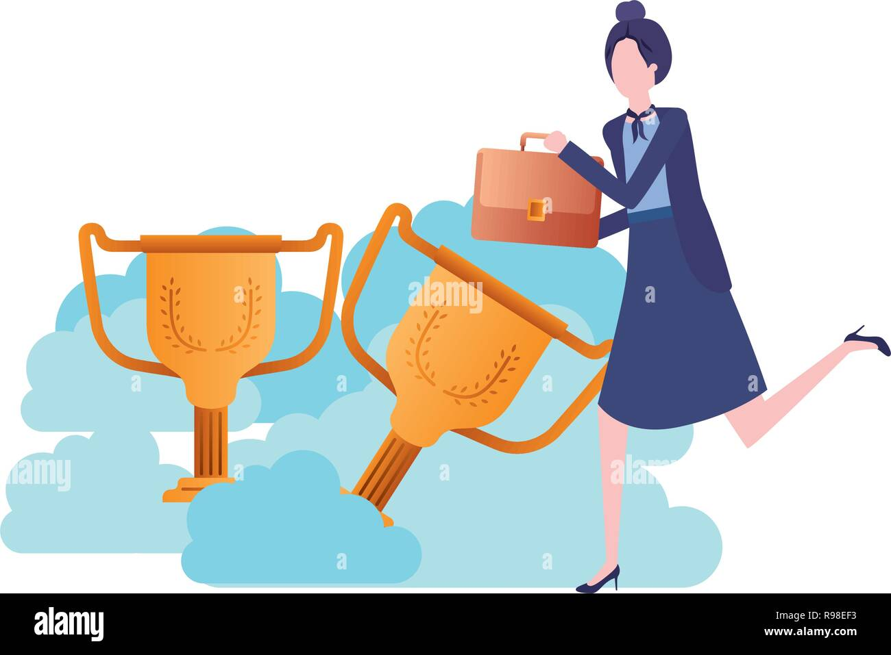 businesswoman in the clouds with trophies character - Stock Image