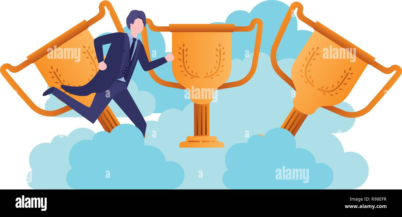 businessman in the clouds with trophies character - Stock Image