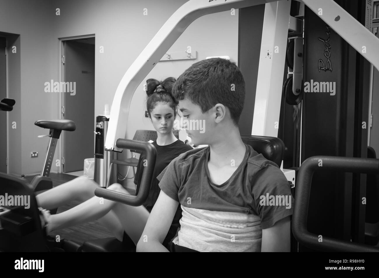 TAURANGA NEW ZEALAND - DECEMBER 15,2018; Young person engaged in physical activity at a gym - Stock Image