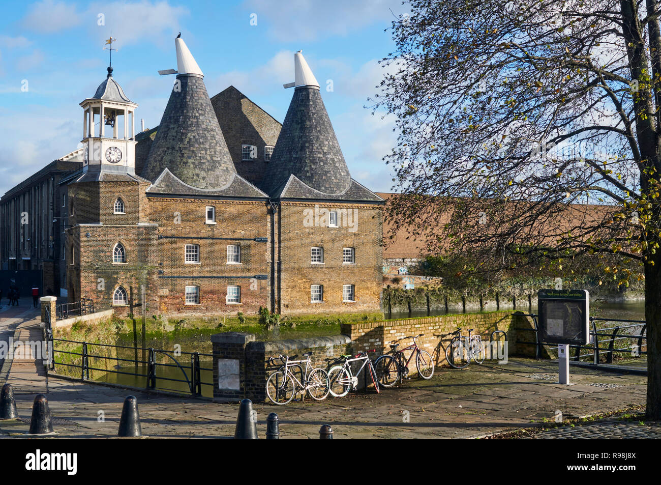 The historic Three Mills Studios at Bromley-By-Bow, East London UK, on the River Lea - Stock Image