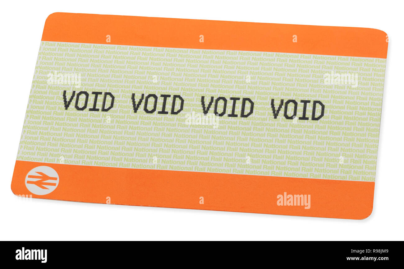 National Rail ticket with the words Void on the front four time - Stock Image