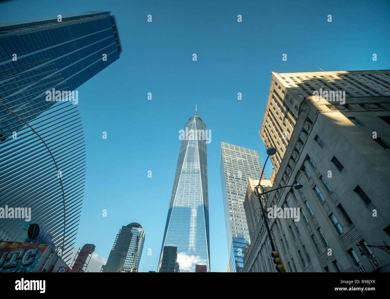Looking Up to The World TRade Center Building In Manhattan with clear skies - Stock Image