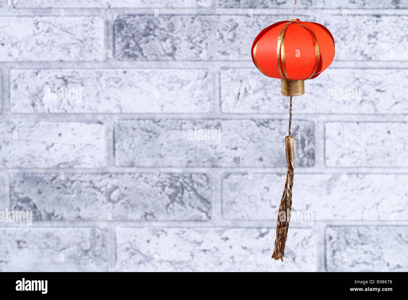 Red Gold Handmade Diy Chinese Lanterns Against A Gray Brick Wall Gift Ideas Decor Concept For The Chinese New Year Sky Lantern Stock Photo Alamy