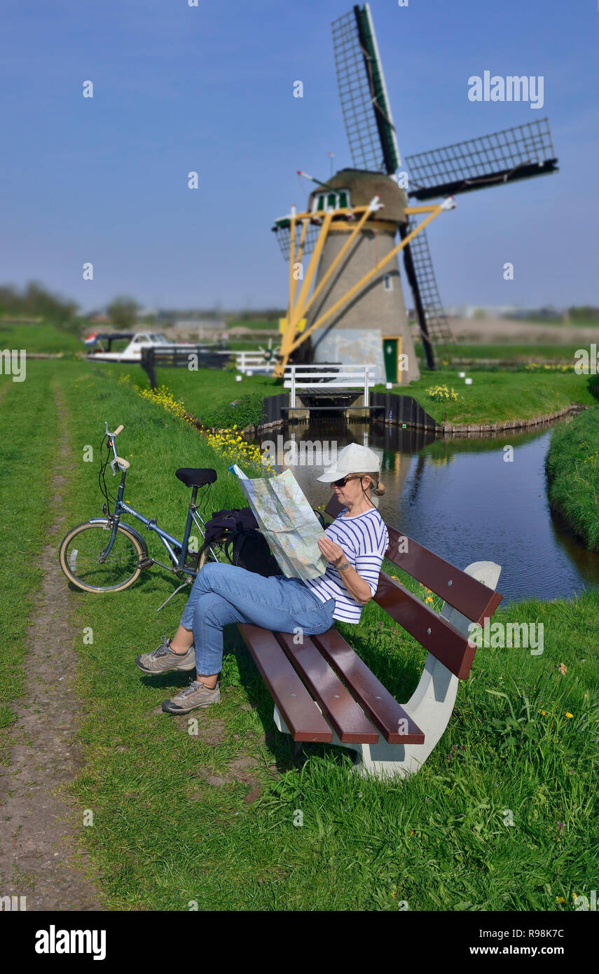 Woman cyclist studying map with the Hoop Doet Leven Windmill in the background.  Voorhout, Holland, the Netherlands Stock Photo