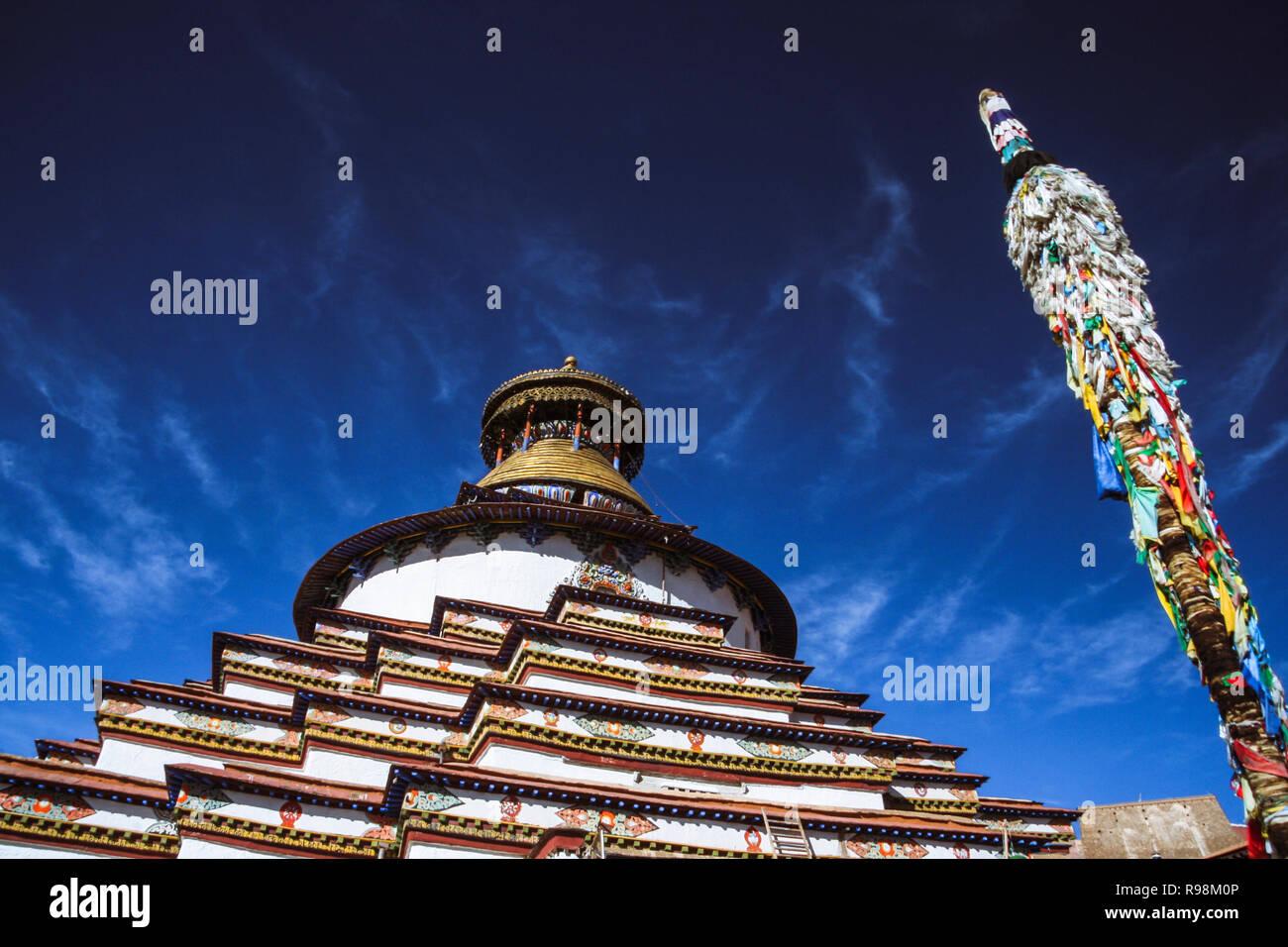 Gyantse, Shigatse Prefecture, Tibet Autonomous Region, China : Gyantse, Shigatse Prefecture, Tibet Autonomous Region, China : Darchog prayer flags by  - Stock Image
