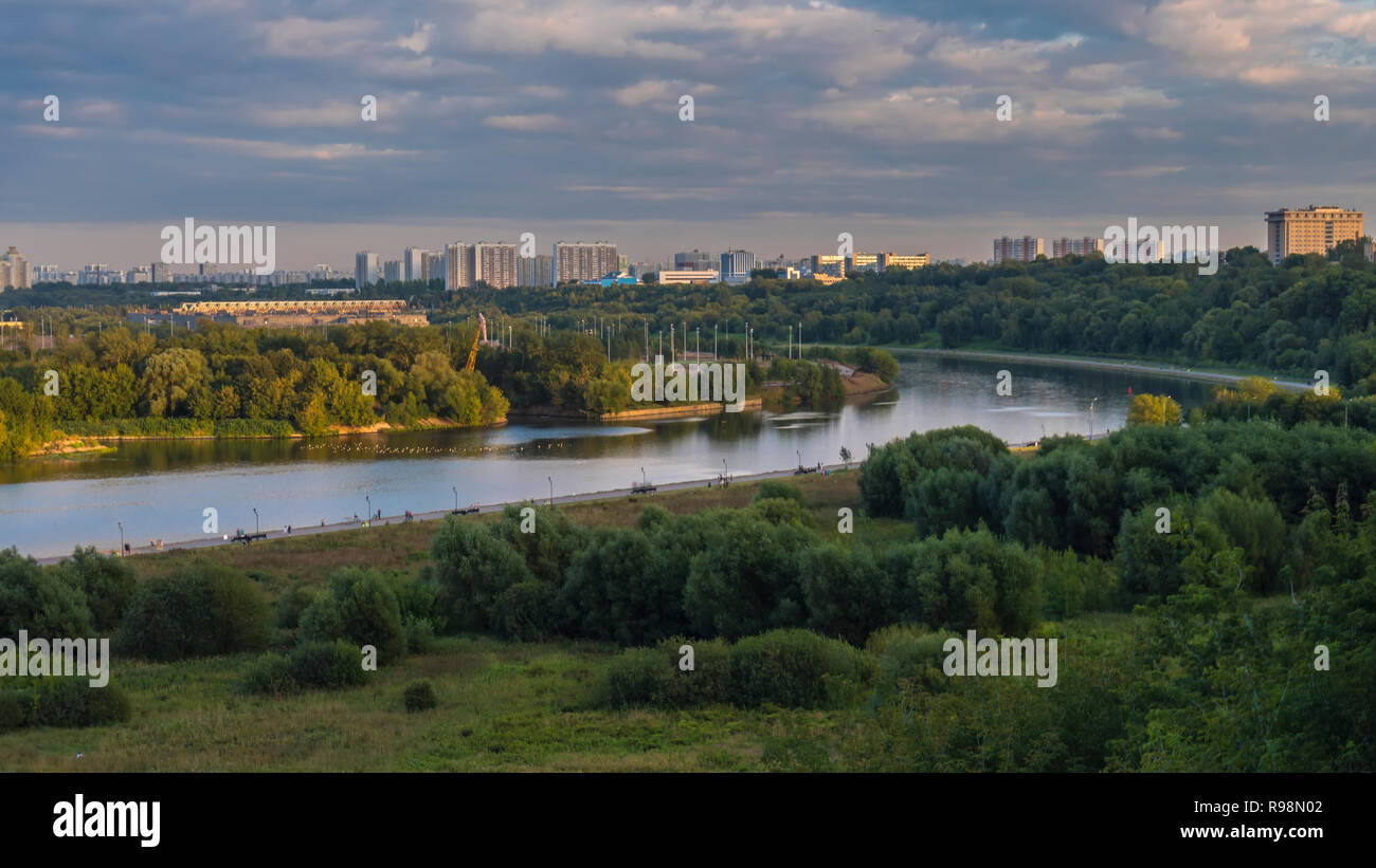 panoramic views of the river from a high hill - Stock Image