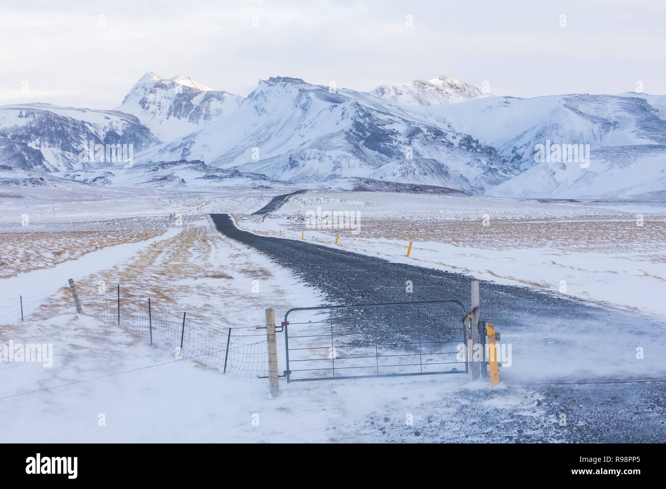 Driven By Winter Wind >> Wind Driven Snow On A Road Heading Toward The Mountains Near