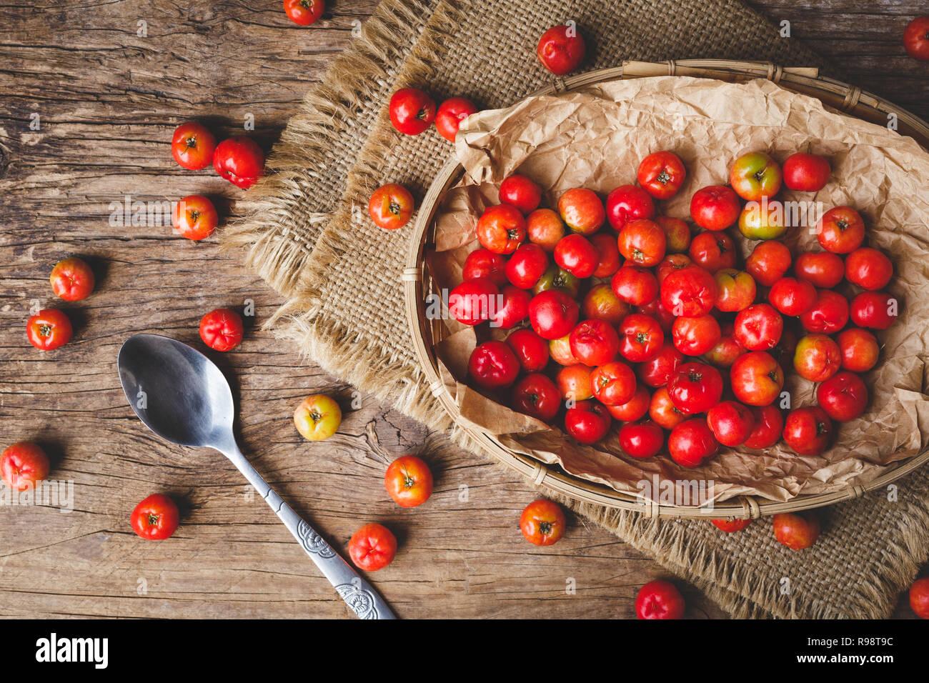 Barbados Cherry fruits - Stock Image