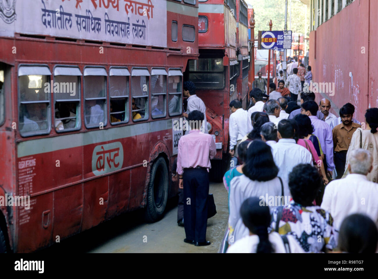 Passengers boarding in bus, bus stop at churchgate, bombay mumbai, Maharashtra, india - Stock Image