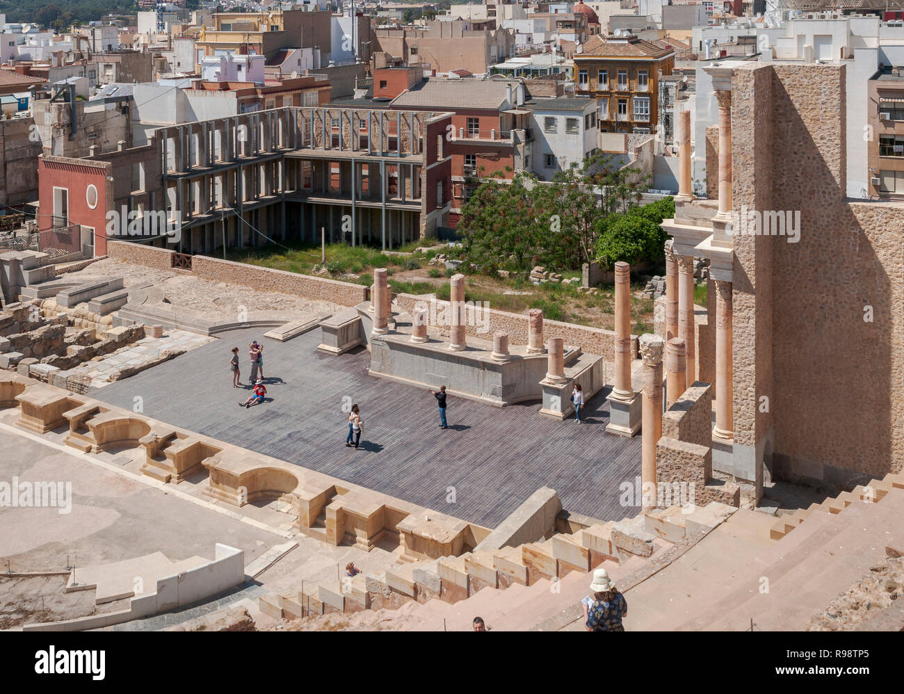 CARTAGENA, SPAIN – APRIL 12, 2017: Views of the Roman Theatre of Cartagena, Spain. It was built between 5 and 1 BC. Stock Photo