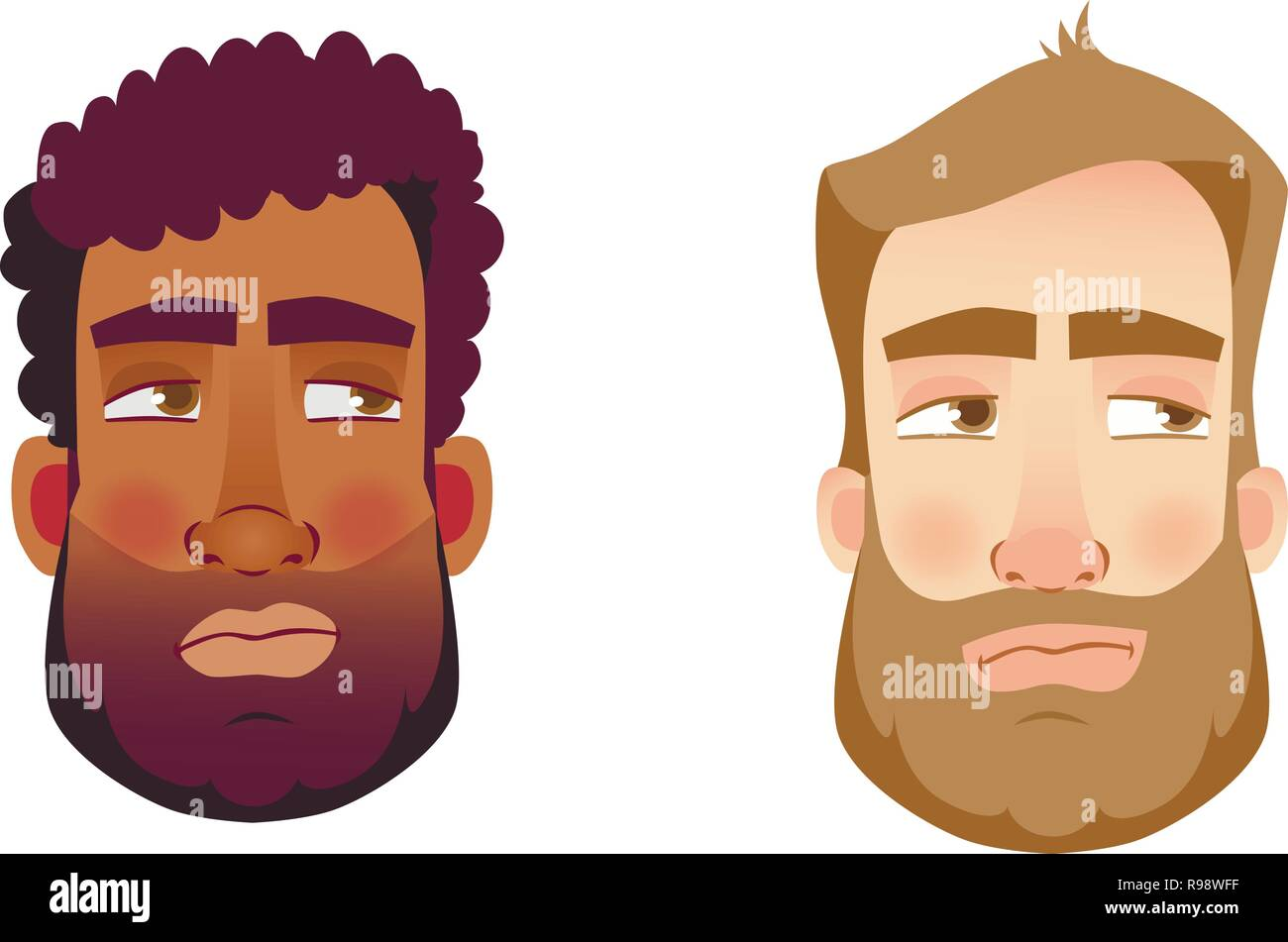 Portrait man. Emotions of man face. Vector illustration set - Stock Vector