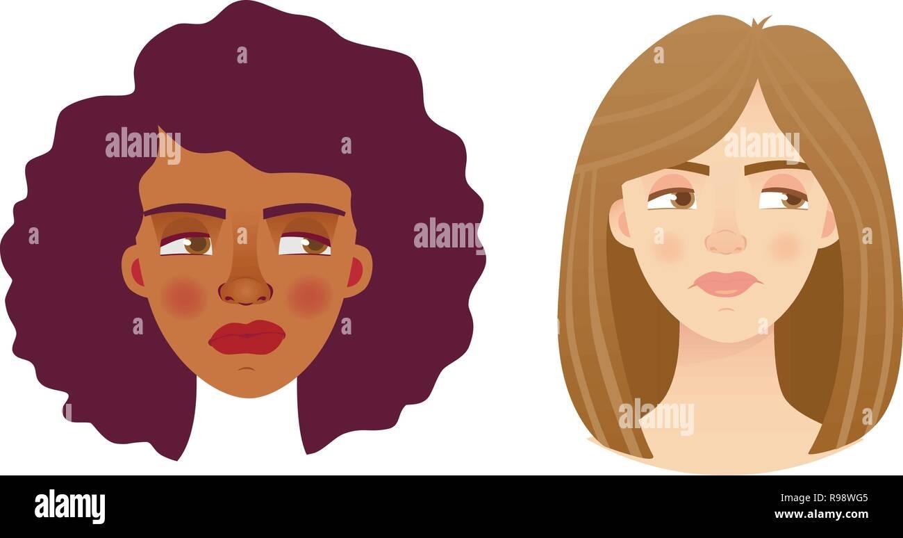 Portrait woman. Emotions of woman face. Vector illustration set - Stock Vector