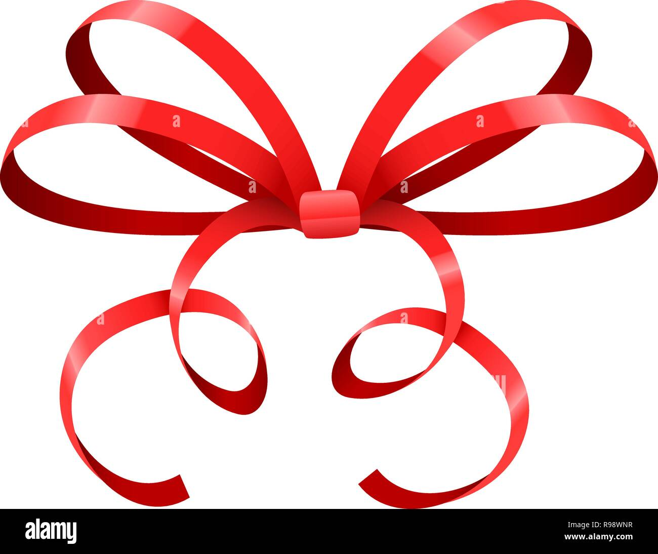 Red bow. Thin tied ribbon - Stock Vector