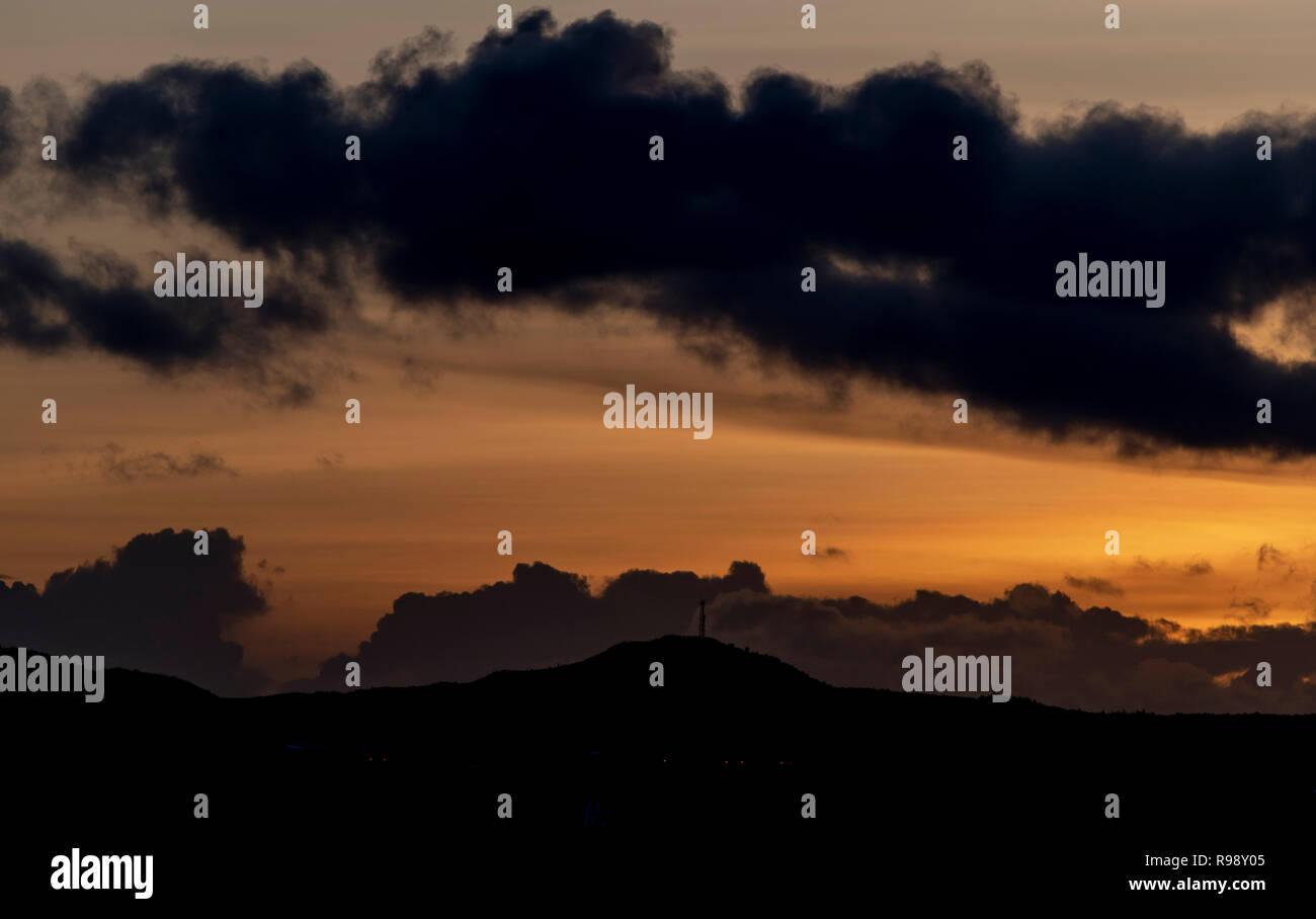 Caribbean Sunset Aruba - Stock Image