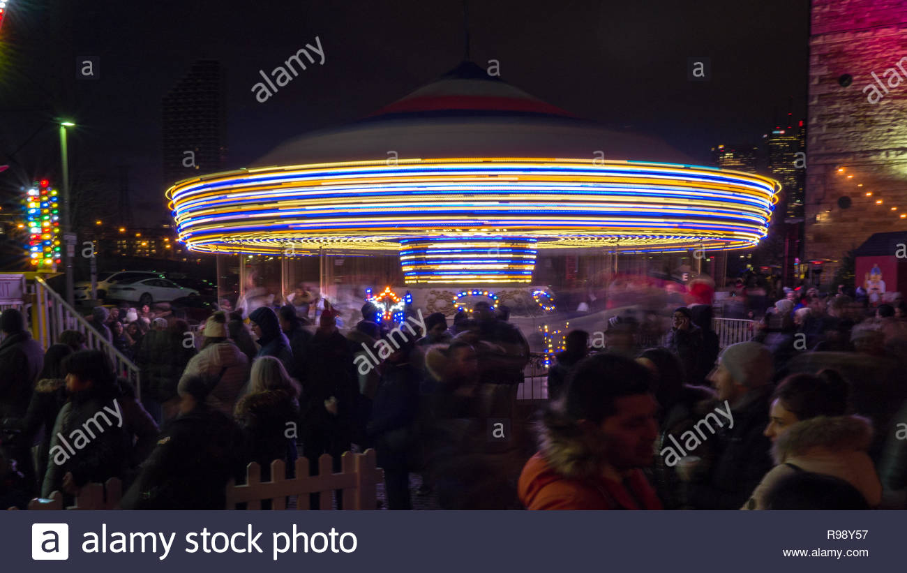 Christmas Market in the historic Distillery District. Long exposure. Stock Photo