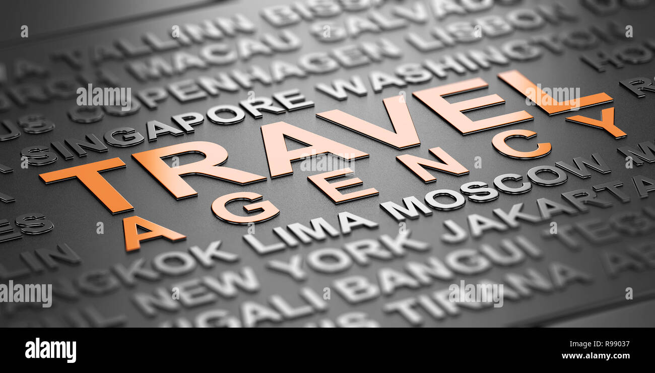 Word cloud over black background with the text Travel agency witten in orange letters. Business travel services concept. 3D Illustration Stock Photo